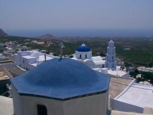 Uitzicht vanaf Emporio op Santorini