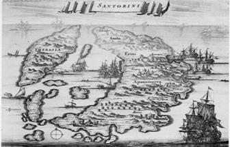 Santorini geschiedenis een fraaie oude kaart van Thira