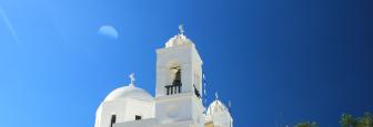 Megalochori kerktoren op Santorini
